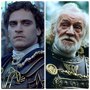 Commodus (Joaquin Phoenix) and Marcus Aurelius (Richard Harris)