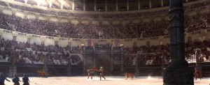 Maximus fights Tigris of Gaul in the Colosseum.